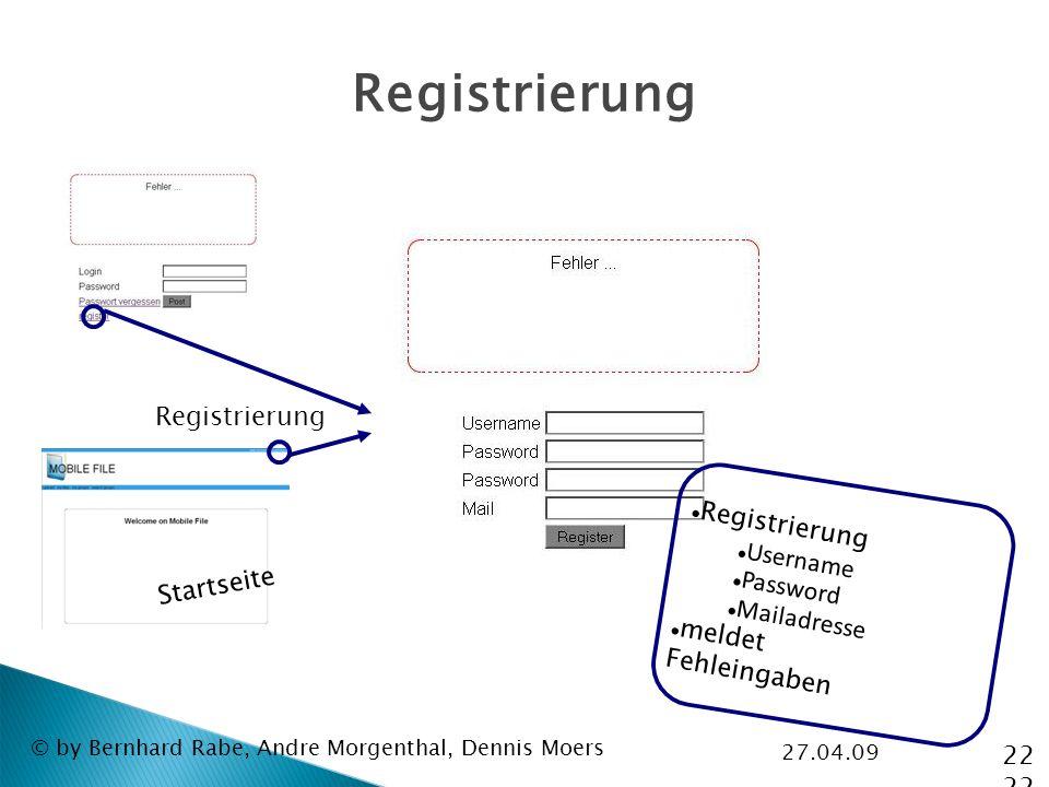 27.04.09 © by Bernhard Rabe, Andre Morgenthal, Dennis Moers Registrierung Startseite Registrierung Username Password Mailadresse meldet Fehleingaben 22