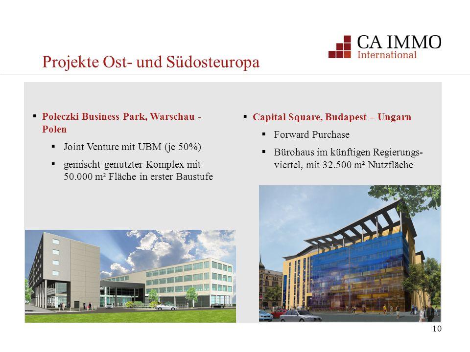 10 Projekte Ost- und Südosteuropa Poleczki Business Park, Warschau - Polen Joint Venture mit UBM (je 50%) gemischt genutzter Komplex mit 50.000 m² Flä