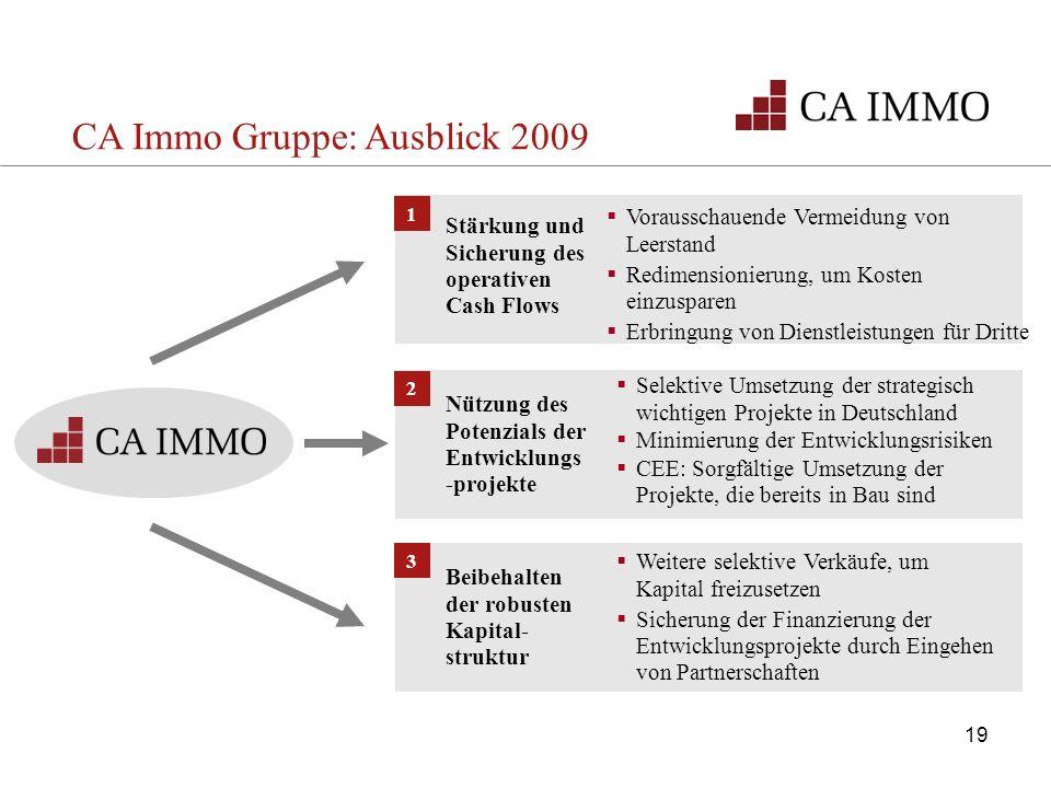 1 Stärkung und Sicherung des operativen Cash Flows Vorausschauende Vermeidung von Leerstand Redimensionierung, um Kosten einzusparen Erbringung von Di