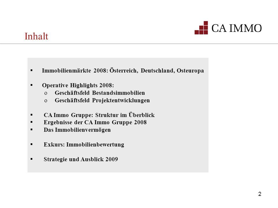 Inhalt Immobilienmärkte 2008: Österreich, Deutschland, Osteuropa Operative Highlights 2008: oGeschäftsfeld Bestandsimmobilien oGeschäftsfeld Projekten