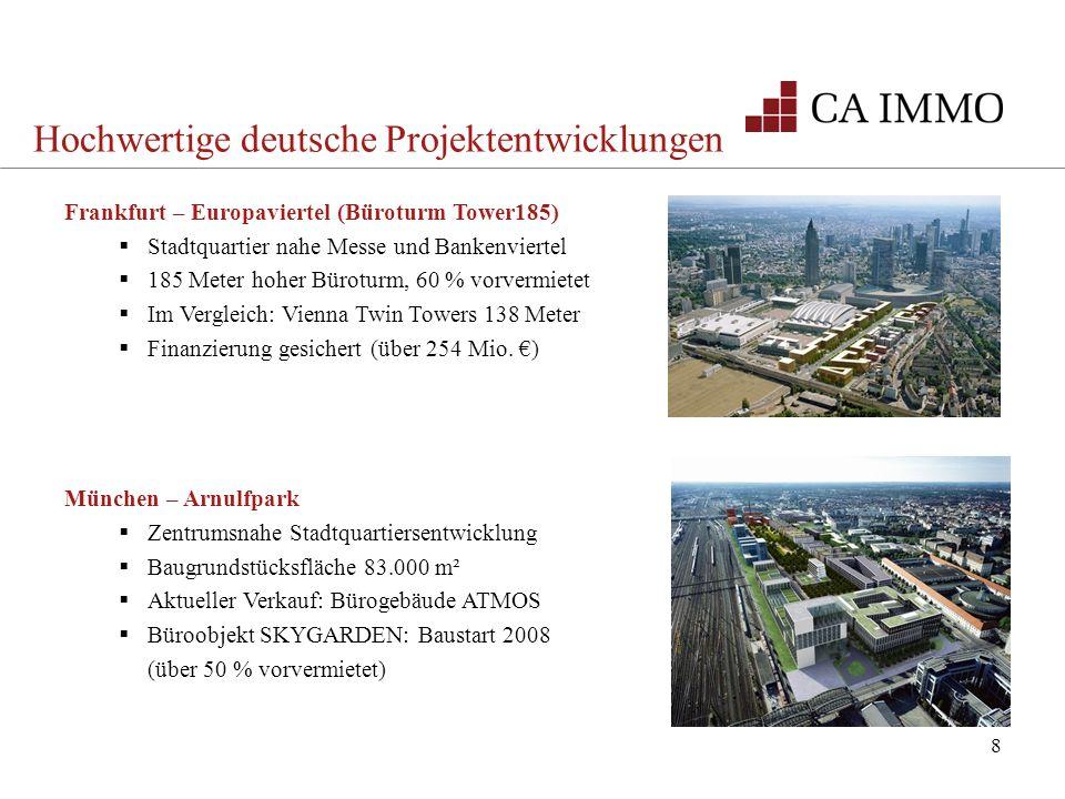 8 Frankfurt – Europaviertel (Büroturm Tower185) Stadtquartier nahe Messe und Bankenviertel 185 Meter hoher Büroturm, 60 % vorvermietet Im Vergleich: V