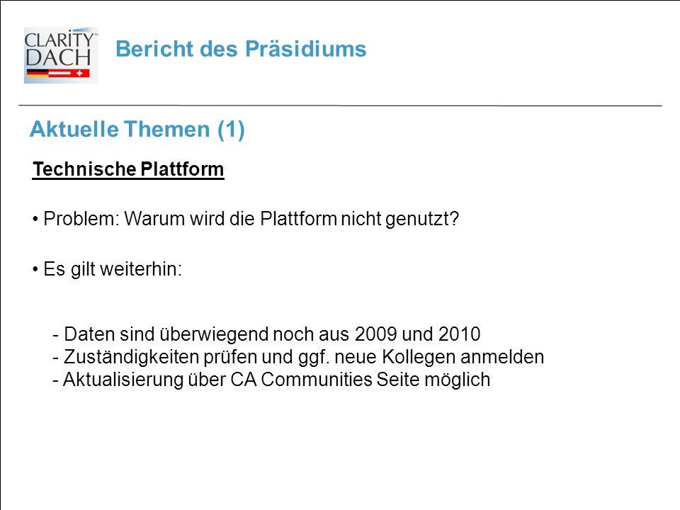 Bericht des Präsidiums Aktuelle Themen (1) Technische Plattform Problem: Warum wird die Plattform nicht genutzt.