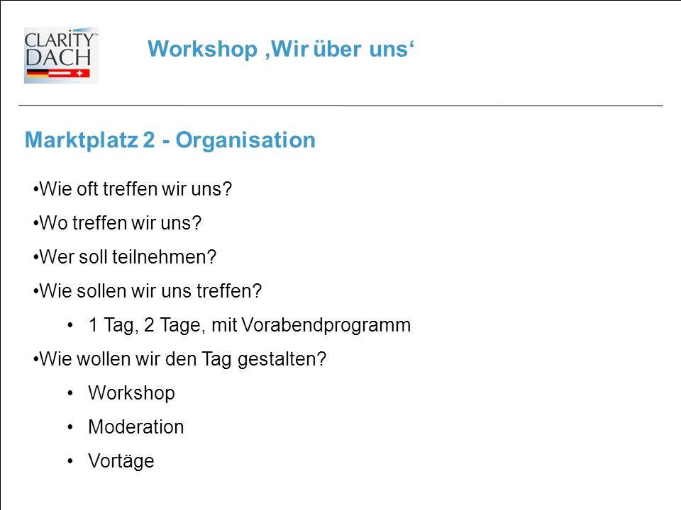 Workshop Wir über uns Marktplatz 2 - Organisation Wie oft treffen wir uns.