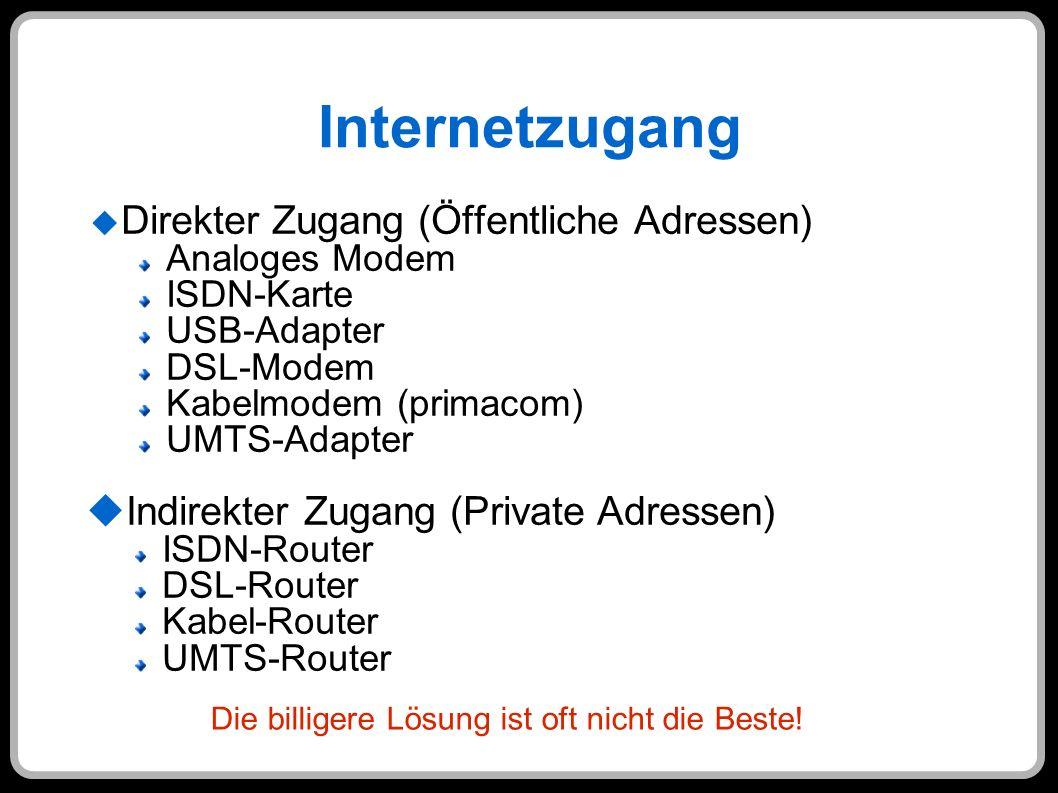 Internetzugang Direkter Zugang (Öffentliche Adressen) Analoges Modem ISDN-Karte USB-Adapter DSL-Modem Kabelmodem (primacom) UMTS-Adapter Indirekter Zu