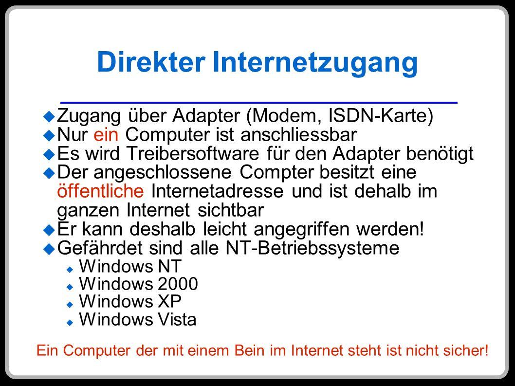 Direkter Internetzugang Zugang über Adapter (Modem, ISDN-Karte) Nur ein Computer ist anschliessbar Es wird Treibersoftware für den Adapter benötigt De