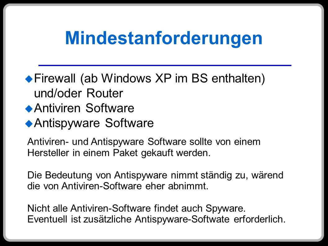 Mindestanforderungen Firewall (ab Windows XP im BS enthalten) und/oder Router Antiviren Software Antispyware Software Antiviren- und Antispyware Softw