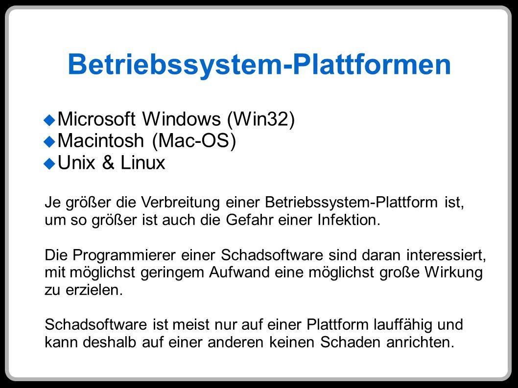Betriebssystem-Plattformen Microsoft Windows (Win32) Macintosh (Mac-OS) Unix & Linux Je größer die Verbreitung einer Betriebssystem-Plattform ist, um