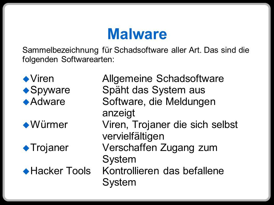 Malware Viren Allgemeine Schadsoftware SpywareSpäht das System aus AdwareSoftware, die Meldungen anzeigt WürmerViren, Trojaner die sich selbst verviel
