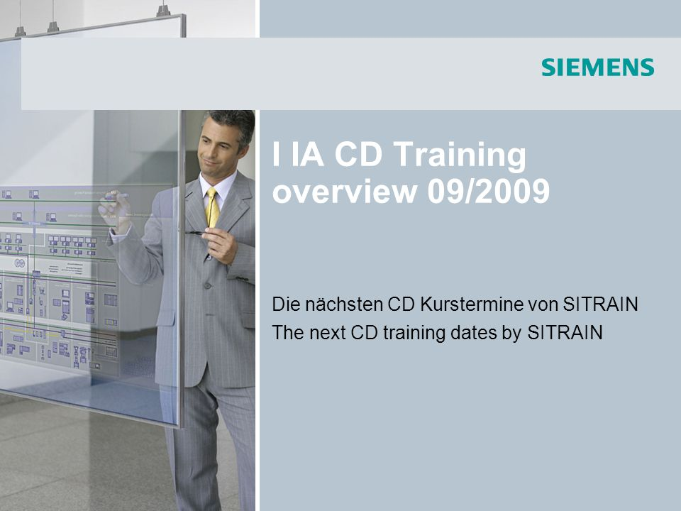 © Siemens AG 2009 - Änderungen vorbehalten Industry Sector, IA CD MM2, Faraüs 18.08.2009Seite 12/46 I IA CD Training overview 09/2009 Communication with SENTRON Circuit Breakers (3WL,3VL) – Part Diagnostics and Service (English) The participants learn about the practical advantage and options offered by communication of the SENTRON circuit breakers with superior controls and control systems (e.g.