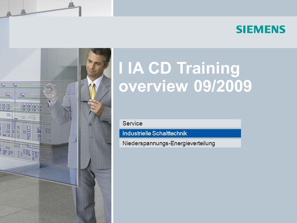 I IA CD Training overview 09/2009 Niederspannungs-Energieverteilung Industrielle Schalttechnik Service