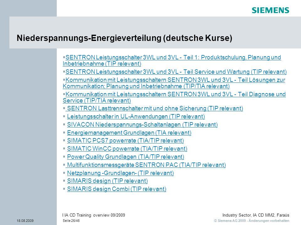 © Siemens AG 2009 - Änderungen vorbehalten Industry Sector, IA CD MM2, Faraüs 18.08.2009Seite 25/46 I IA CD Training overview 09/2009 Niederspannungs-