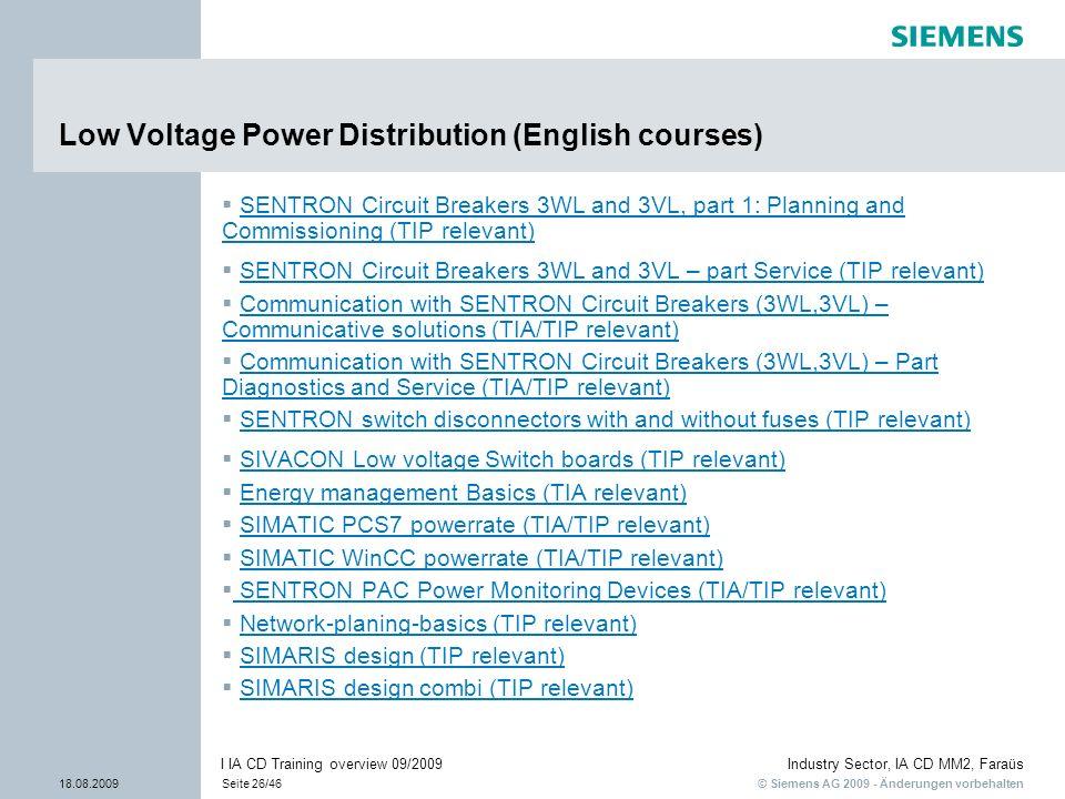 © Siemens AG 2009 - Änderungen vorbehalten Industry Sector, IA CD MM2, Faraüs 18.08.2009Seite 26/46 I IA CD Training overview 09/2009 Low Voltage Powe