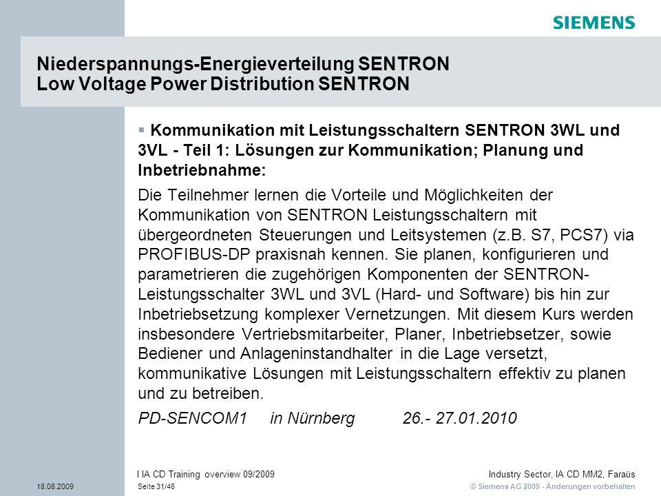 © Siemens AG 2009 - Änderungen vorbehalten Industry Sector, IA CD MM2, Faraüs 18.08.2009Seite 31/46 I IA CD Training overview 09/2009 Kommunikation mi