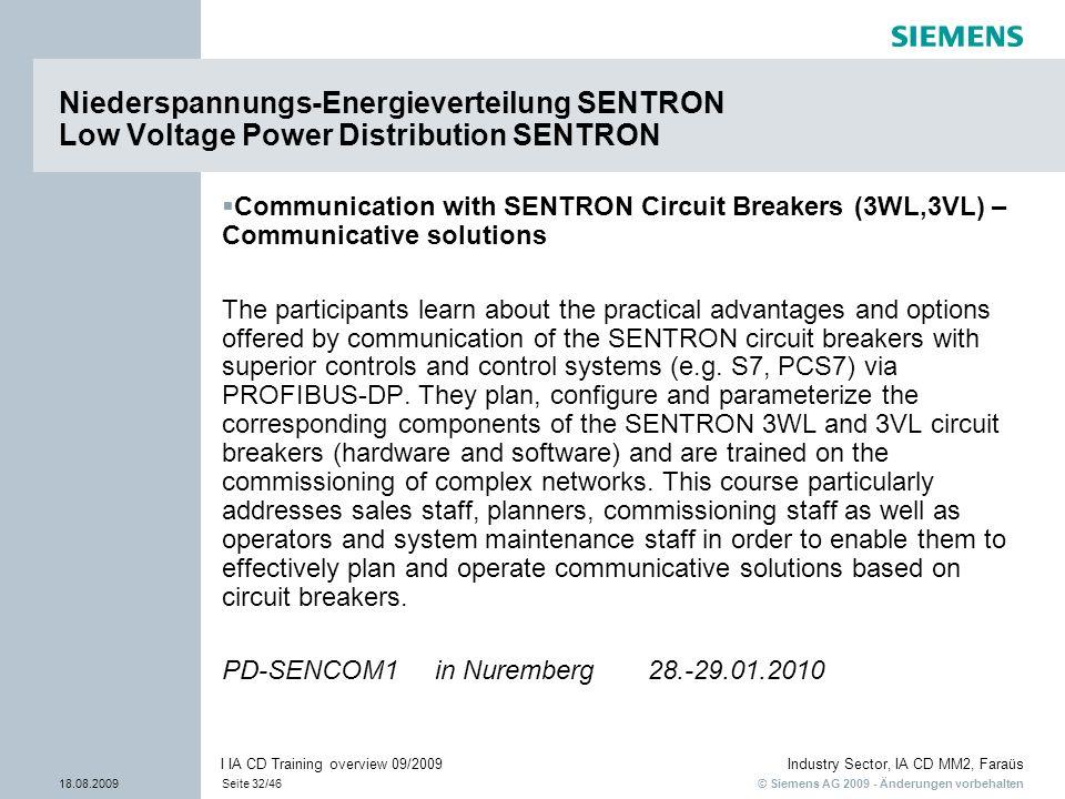 © Siemens AG 2009 - Änderungen vorbehalten Industry Sector, IA CD MM2, Faraüs 18.08.2009Seite 32/46 I IA CD Training overview 09/2009 Communication wi
