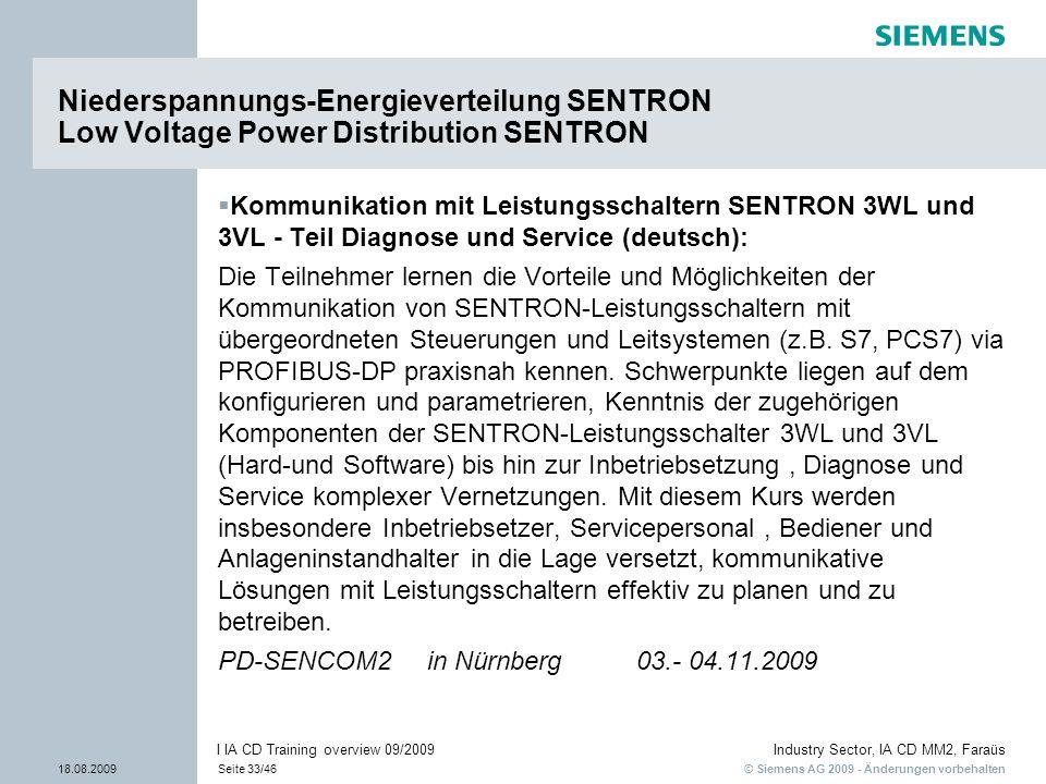 © Siemens AG 2009 - Änderungen vorbehalten Industry Sector, IA CD MM2, Faraüs 18.08.2009Seite 33/46 I IA CD Training overview 09/2009 Kommunikation mi