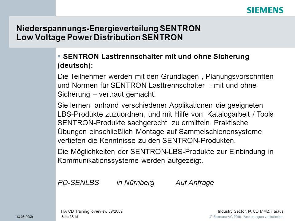 © Siemens AG 2009 - Änderungen vorbehalten Industry Sector, IA CD MM2, Faraüs 18.08.2009Seite 35/46 I IA CD Training overview 09/2009 Niederspannungs-