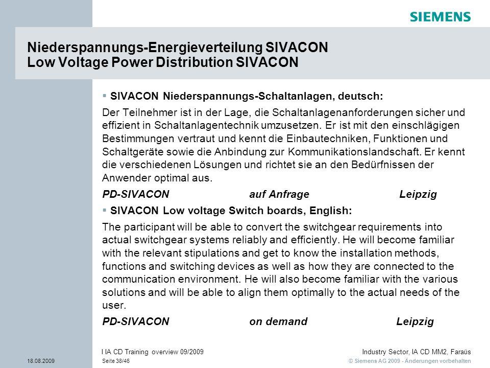 © Siemens AG 2009 - Änderungen vorbehalten Industry Sector, IA CD MM2, Faraüs 18.08.2009Seite 38/46 I IA CD Training overview 09/2009 SIVACON Niedersp