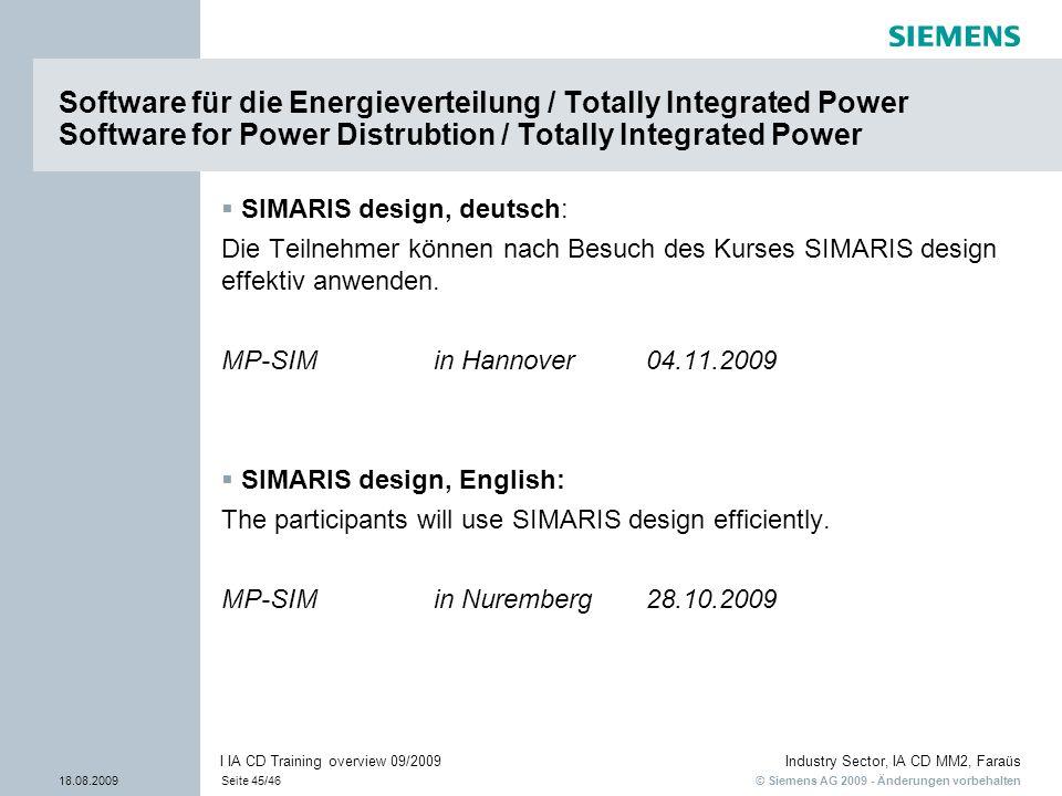 © Siemens AG 2009 - Änderungen vorbehalten Industry Sector, IA CD MM2, Faraüs 18.08.2009Seite 45/46 I IA CD Training overview 09/2009 Software für die