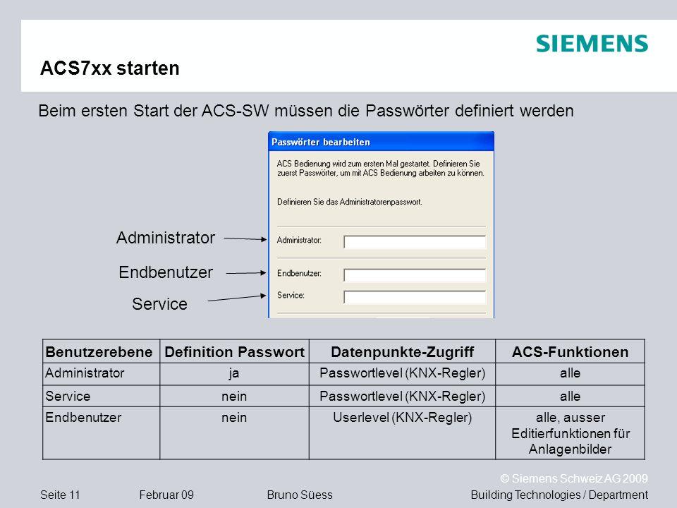 Building Technologies / DepartmentBruno Süess © Siemens Schweiz AG 2009 Seite 11Februar 09 ACS7xx starten Beim ersten Start der ACS-SW müssen die Pass