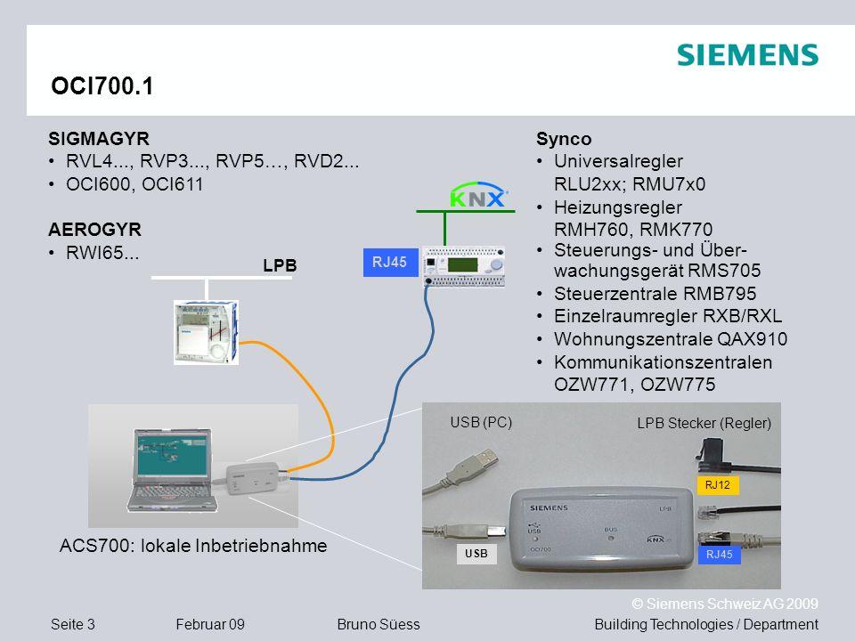 Building Technologies / DepartmentBruno Süess © Siemens Schweiz AG 2009 Seite 3Februar 09 OCI700.1 USB (PC) LPB Stecker (Regler) RJ12 RJ45 USB LPB RJ4