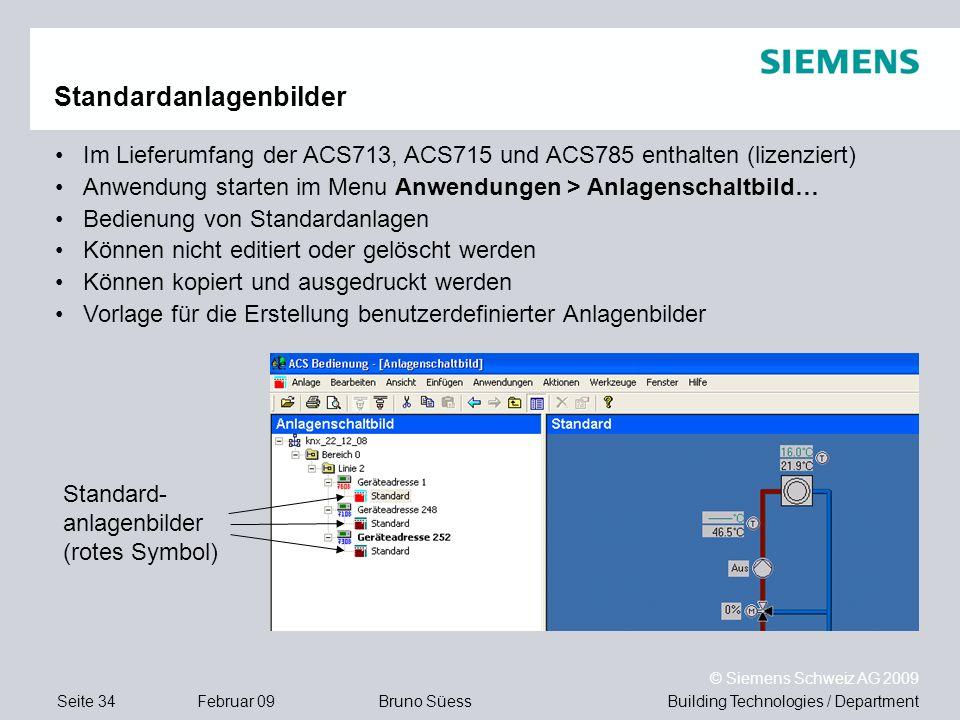 Building Technologies / DepartmentBruno Süess © Siemens Schweiz AG 2009 Seite 34Februar 09 Standardanlagenbilder Im Lieferumfang der ACS713, ACS715 un