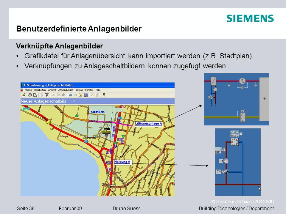 Building Technologies / DepartmentBruno Süess © Siemens Schweiz AG 2009 Seite 39Februar 09 Benutzerdefinierte Anlagenbilder Verknüpfte Anlagenbilder G