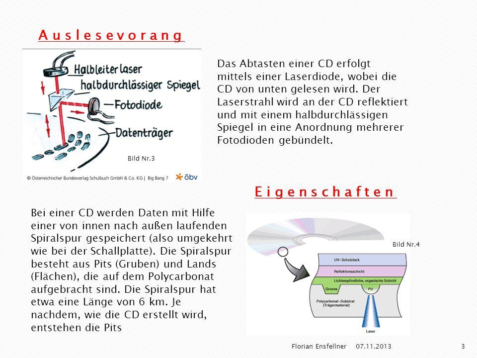 Auslesevorang Das Abtasten einer CD erfolgt mittels einer Laserdiode, wobei die CD von unten gelesen wird. Der Laserstrahl wird an der CD reflektiert