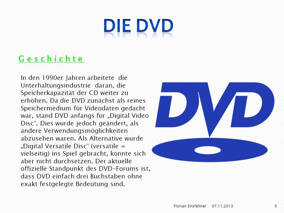 Geschichte In den 1990er Jahren arbeitete die Unterhaltungsindustrie daran, die Speicherkapazität der CD weiter zu erhöhen. Da die DVD zunächst als re