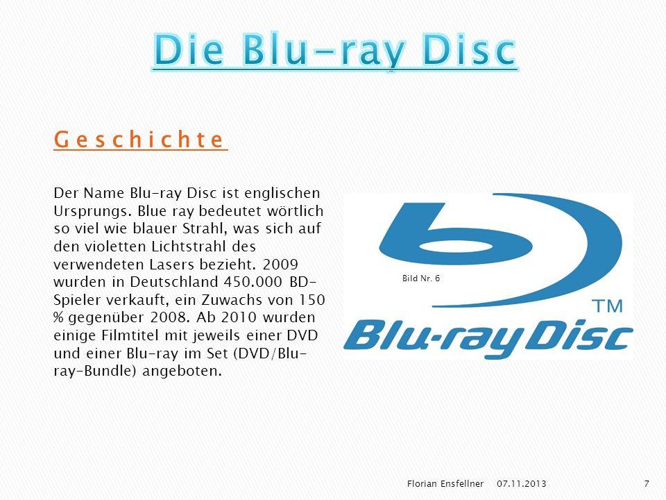 Bild Nr. 6 Geschichte Der Name Blu-ray Disc ist englischen Ursprungs. Blue ray bedeutet wörtlich so viel wie blauer Strahl, was sich auf den violetten