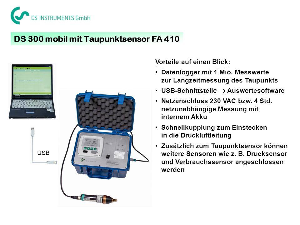 DS 300 mobil mit Taupunktsensor FA 410 Vorteile auf einen Blick: Datenlogger mit 1 Mio. Messwerte zur Langzeitmessung des Taupunkts USB-Schnittstelle