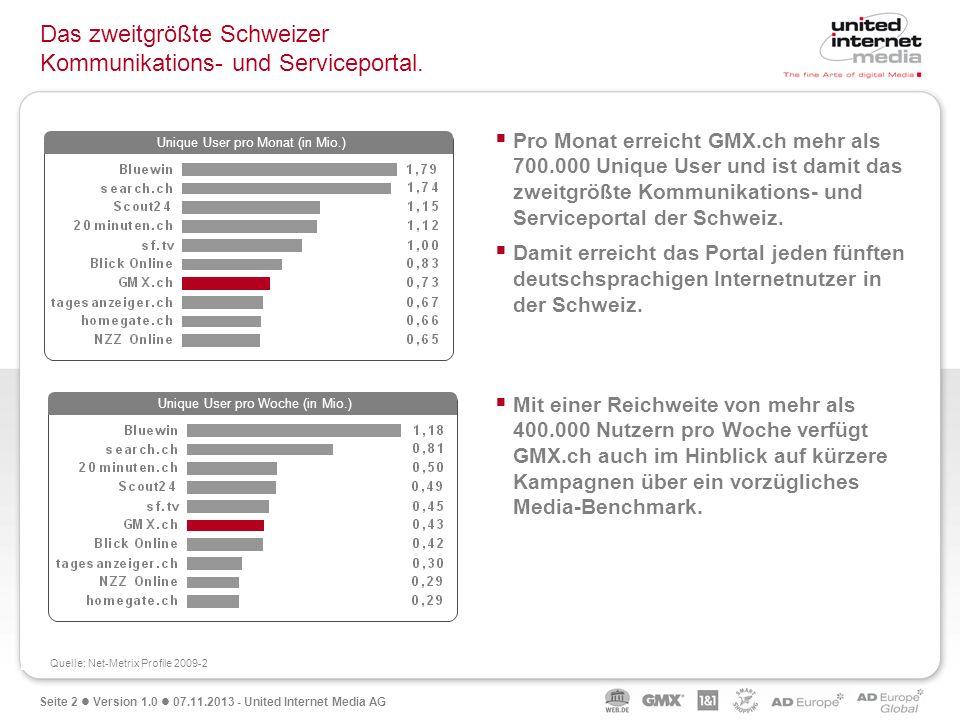 Seite 2 Version 1.0 07.11.2013 - United Internet Media AG Das zweitgrößte Schweizer Kommunikations- und Serviceportal. Unique User pro Woche (in Mio.)