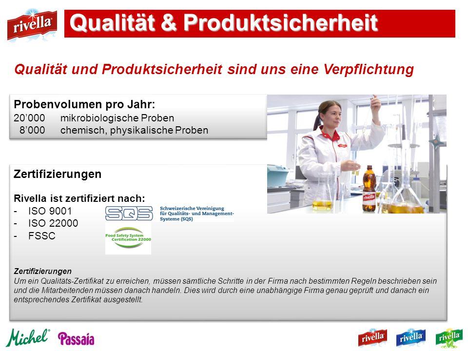 Zertifizierungen Rivella ist zertifiziert nach: -ISO 9001 -ISO 22000 -FSSC Zertifizierungen Um ein Qualitäts-Zertifikat zu erreichen, müssen sämtliche