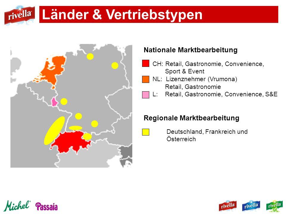 CH: Retail, Gastronomie, Convenience, Sport & Event NL: Lizenznehmer (Vrumona) Retail, Gastronomie L: Retail, Gastronomie, Convenience, S&E Deutschlan