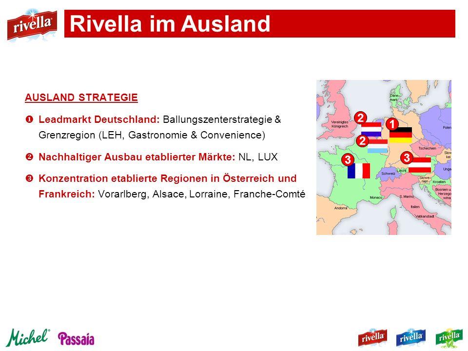 AUSLAND STRATEGIE Leadmarkt Deutschland: Ballungszenterstrategie & Grenzregion (LEH, Gastronomie & Convenience) Nachhaltiger Ausbau etablierter Märkte