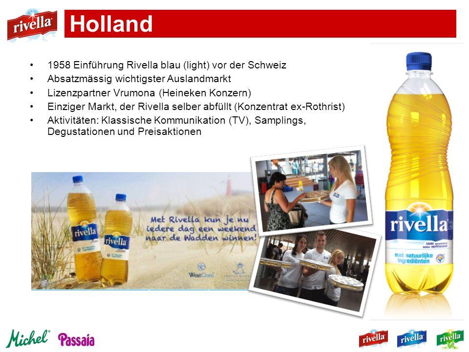1958 Einführung Rivella blau (light) vor der Schweiz Absatzmässig wichtigster Auslandmarkt Lizenzpartner Vrumona (Heineken Konzern) Einziger Markt, de