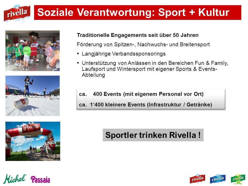 Soziale Verantwortung: Sport + Kultur Traditionelle Engagements seit über 50 Jahren Förderung von Spitzen-, Nachwuchs- und Breitensport Langjährige Ve