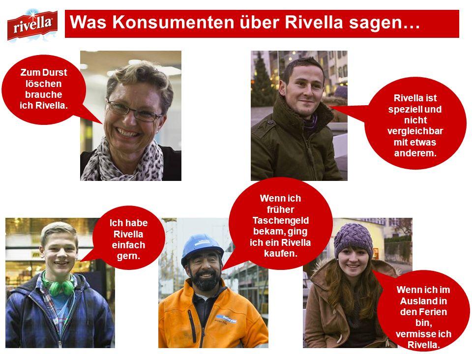 Was Konsumenten über Rivella sagen… Rivella ist speziell und nicht vergleichbar mit etwas anderem. Ich habe Rivella einfach gern. Wenn ich im Ausland