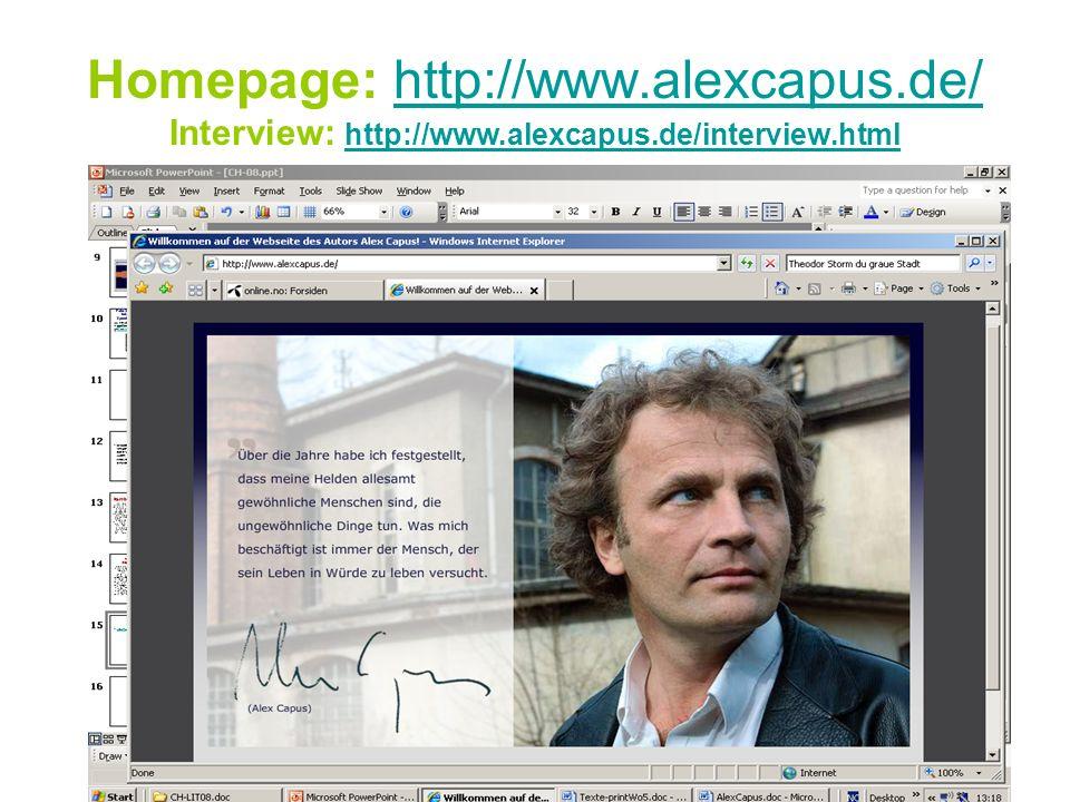 Homepage: http://www.alexcapus.de/ Interview: http://www.alexcapus.de/interview.htmlhttp://www.alexcapus.de/http://www.alexcapus.de/interview.html