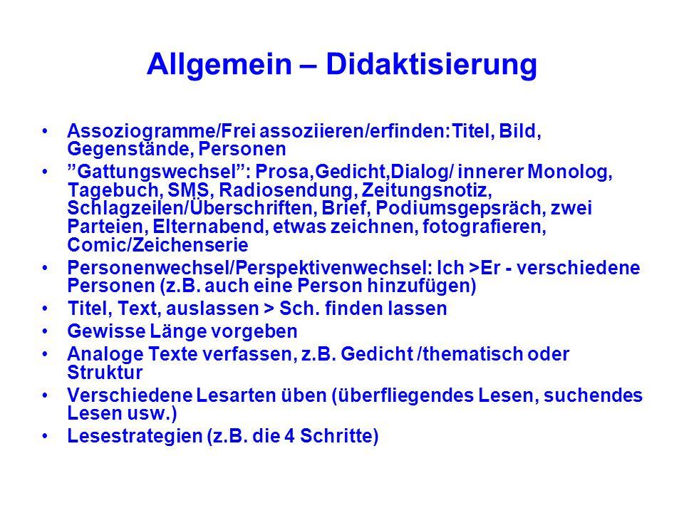 Allgemein – Didaktisierung Assoziogramme/Frei assoziieren/erfinden:Titel, Bild, Gegenstände, Personen Gattungswechsel: Prosa,Gedicht,Dialog/ innerer M