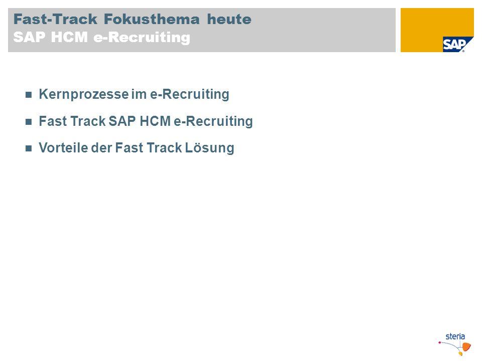 Fast-Track Fokusthema heute SAP HCM e-Recruiting Kernprozesse im e-Recruiting Fast Track SAP HCM e-Recruiting Vorteile der Fast Track Lösung
