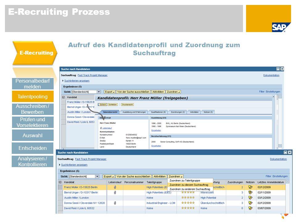 E-Recruiting Prozess Aufruf des Kandidatenprofil und Zuordnung zum Suchauftrag Personalbedarf melden Talentpooling Prüfen und Vorselektieren Auswahl A