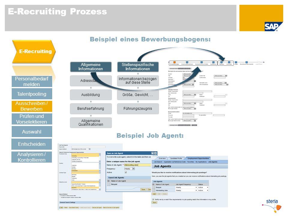E-Recruiting Prozess Beispiel eines Bewerbungsbogens: Personalbedarf melden Talentpooling Prüfen und Vorselektieren Auswahl Ausschreiben / Bewerben En