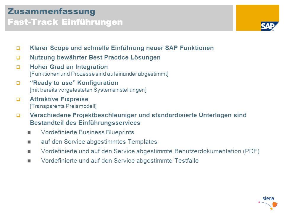 Zusammenfassung Fast-Track Einführungen Klarer Scope und schnelle Einführung neuer SAP Funktionen Nutzung bewährter Best Practice Lösungen Hoher Grad
