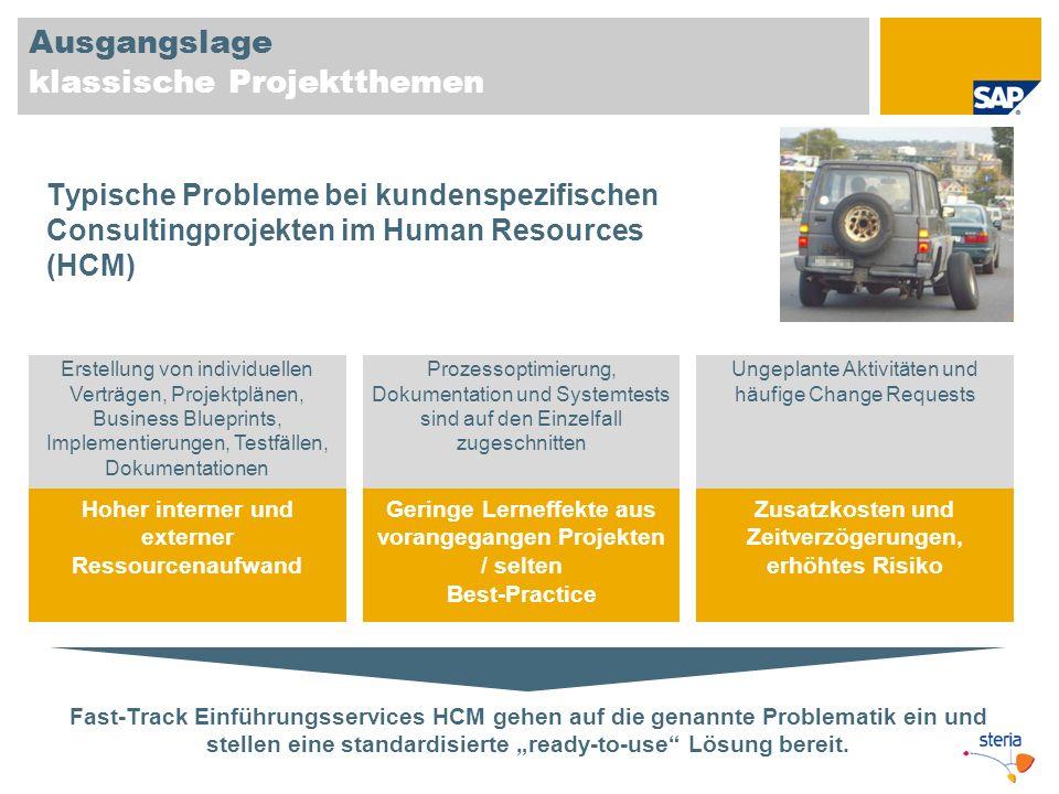 Ausgangslage klassische Projektthemen Fast-Track Einführungsservices HCM gehen auf die genannte Problematik ein und stellen eine standardisierte ready