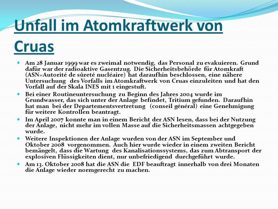 Unfall im Atomkraftwerk von Cruas Am 28 Januar 1999 war es zweimal notwendig, das Personal zu evakuieren. Grund dafür war der radioaktive Gasentzug. D