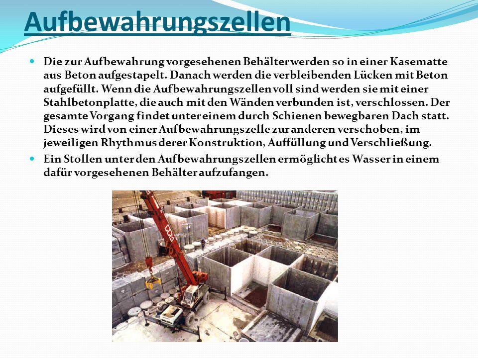 Aufbewahrungszellen Die zur Aufbewahrung vorgesehenen Behälter werden so in einer Kasematte aus Beton aufgestapelt. Danach werden die verbleibenden Lü