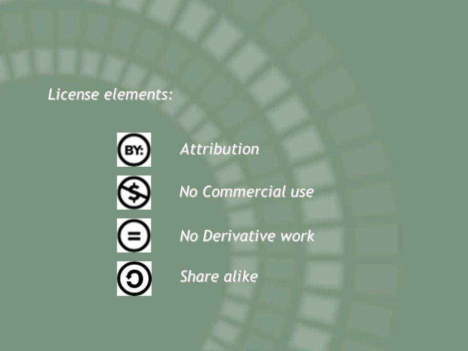 License elements: Attribution No Commercial use No Derivative work Share alike