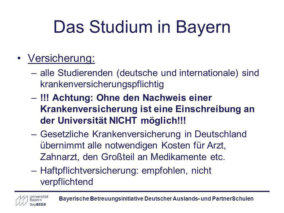 Versicherung: –alle Studierenden (deutsche und internationale) sind krankenversicherungspflichtig –!!! Achtung: Ohne den Nachweis einer Krankenversich