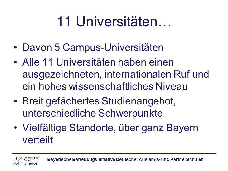 Bayerische Betreuungsinitiative Deutscher Auslands- und PartnerSchulen 11 Universitäten… Davon 5 Campus-Universitäten Alle 11 Universitäten haben eine