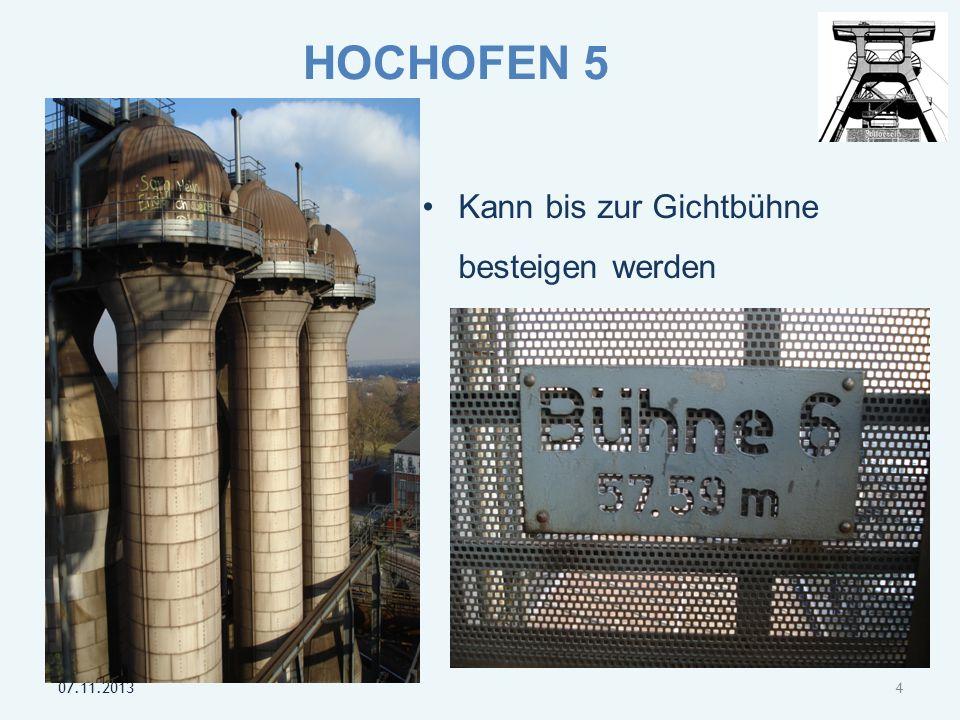 5 Heute dient der Hochofen als Aussichtsturm Blickt über die Landschaft des Ruhrgebietes und des Niederrheins.